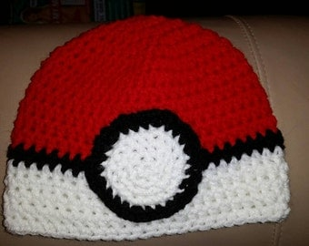 Pokemon beanie, pokemon inspired crocheted hat, poke ball crocheted hat, baby hat