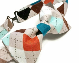 Argyle Bow Tie • Pre-Tied Bow Tie • Colorful Bow Tie • Fathers Day Gift • Novelty Bowtie • Gifts For Guys • Colorful Argyle Tie