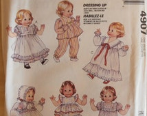Doll Clothes, McCalls 4907, Doll Dresses, 12in to 22 in doll clothes, Doll Pajamas, Bloomers,  S-L Dolls, 1990 pattern, Epsteam