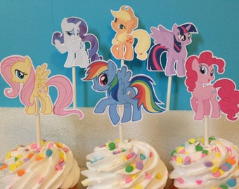 My little pony cupcake toppers, my little pony party, my little pony decorations, girls birthday party,