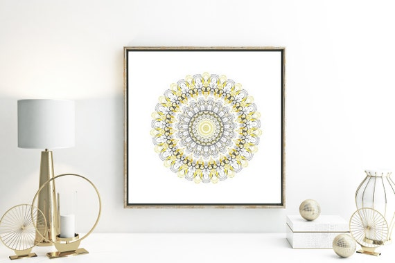 Grey mustard yellow decor modern mandala mid century wall art - Decorating with mustard yellow ...