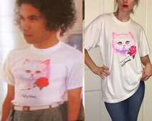 Vintage90's HACKERS Movie PINK Eyed Psychedelic CAT Rose T Shirt