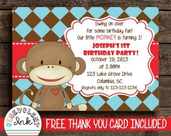 Sock Monkey 1st Birthday Invitation - Printable Monkey Theme Party Invite - First Birthday Invitation - Boys Birthday Party Invitation