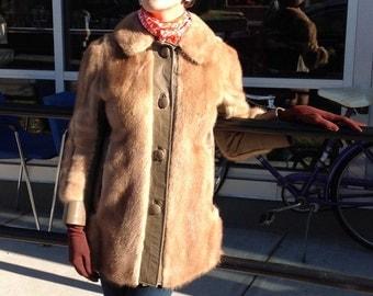 Boho 1970s mink and leather jacket