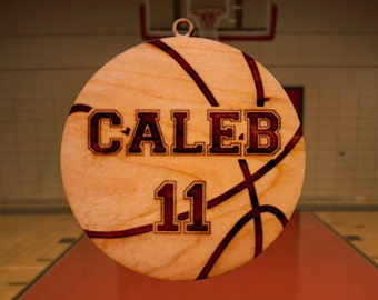 Personalized Wooden Basketball Christmas Ornament