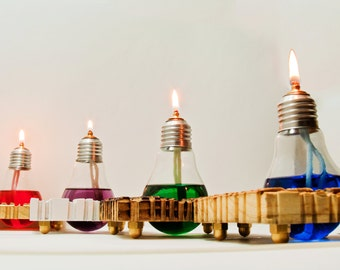 Upcycling : Light bulb oil lamp Lightbulb candle lantern by Obgetti