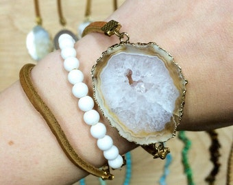 Large Geode Druzy Stone Wrap Arounds
