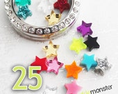 Mini Stars for lockets - 25 pcs, random colors, USA seller, floating charm, fits Origami Owl, jewelry bar