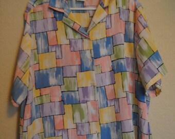 Pastel color block button up shirt