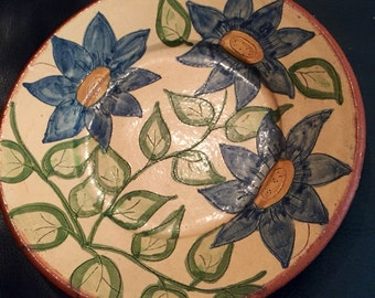 Sale - Vintage Handcrafted, Hand Painted Flosa Plate