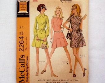 Vintage McCall's sewing pattern 2264 size 16 uncut 1970 skirt blouse pattern
