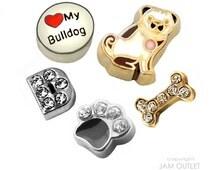 Bulldog Dog Lover Charm(s) Set  - You Choose 1 - 5 Bull Dog Floating Charms -  Fits all Living Memory Origami Lockets, Key Chains, Bracelets