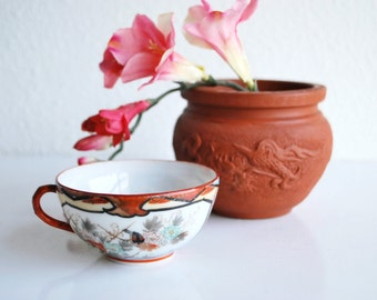 Kutani Porcelain Cup Late Meiji Period Asian Japanese Eggshell Porcelain English Cottage French Country Victoria Drinkware
