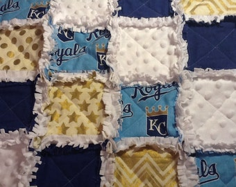 Baby Rag Quilt Minky Security Blanket Lovey, Kansas City Royals, MLB, Baseball, KC Royals, 3 sizes Available