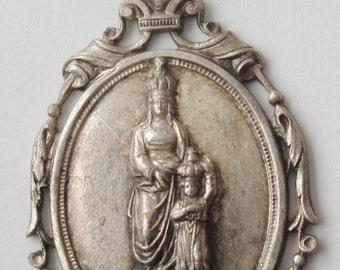 Gorgeous Vintage Medal Pendant St. Anne