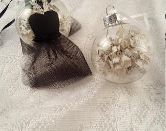 Set of 2 Black Tutu Ornaments, Ballerina Gift, Dance Teacher Gift, Wedding Gift, Bridesmaids Gift, Christmas Tree Ornament, Fabric