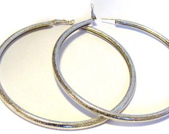 Large Silver 4 inch Hoop Earrings Frosted Metallic Silver tone Hoop Earrings Lightweight