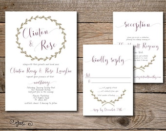 Printable Vintage ANY color Taupe & Burgundy Wedding Invitation, RSVP and OPTIONAL Reception Card Suite-Print Yourself-Digital Invite File