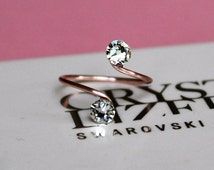 Adjustable Rose Gold Plated Toe Ring With Clear Swarovski Elements by Lady C Jewellery