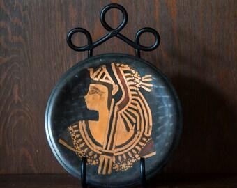 Egyptian Wall Plate Egyptian Bust Brass Egyptian Wall Art Plate Egypt Souvenir Plate