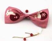 Japanese Kimono Hair Clip,Running Rabbit in Coral Pink,The Mother of Peal Rabbit Shell  Pendant,Birthday,Lolita Fashion NO.hairbow5