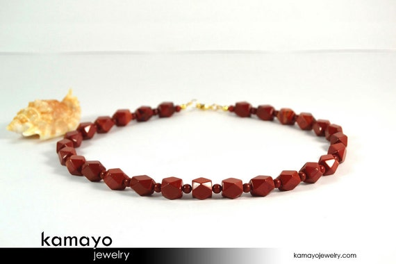 Mens' RED JASPER NECKLACE - Beaded Choker for Men - 14K Gold Filled Findings - 18 1/4 Inches