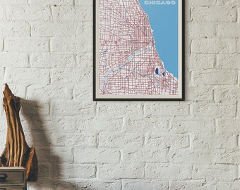 City Flag Edition - Chicago Vintage Map print