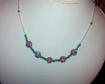 Green and purple Bead Necklace
