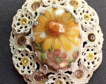 Big White Flower and Rhinestone Brooch-Germany.  Free shipping