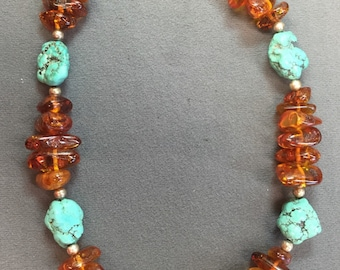 Amber and Turquoise Nugget necklace-Free shipping