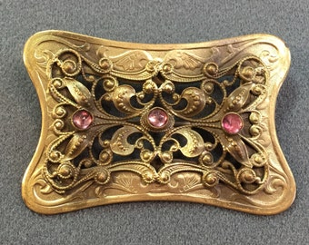 Vintage Antique Art Nouveau Brass Brooch with Purple Glass Rhinestones-C Clasp.  Free shipping