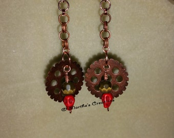 Copper Gear Skull Earrings