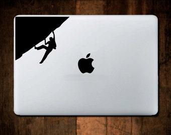 Rock Climber Decal #2,  Mountain Decal, Laptop Decal, Macbook Decal, climbing sticker, laptop sticker, climber gift, Macbook Sticker