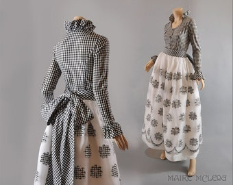 Designer 1960s Adolfo Organza Maxi Skirt & Blouse  - Gingham, Silver S