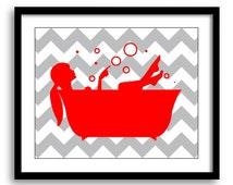 Bathroom Decor Bathroom Print Red Grey Gray Girl with Ponytail in a Bath Tub Bathroom Art Print Chevron Wall Decor Modern Minimalist
