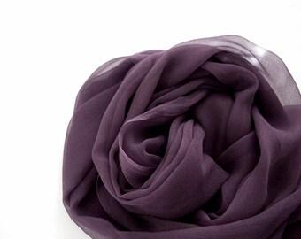 Plum Silk Scarf, Hand Dyed Scarf, Large Silk Shawl, Lightweight Dusty Purple Scarf, Eggplant, Aubergine, Dark Purple Silk Scarf, Plum Scarf
