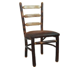Hickory Kitchen Chair with a Ladder Back and Upholstered Seat