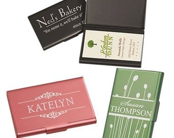 Sets of BUSINESS CARD CASES Metal Custom Engraved to your specifications