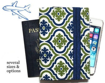 Family Passport Holder, Women's Passport Wallet, Passport Case for 4 5 6, Cell Phone Wallet, Passport Protector, Travel Gift - Blue Green