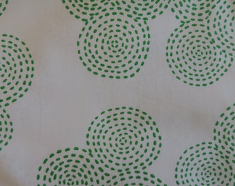 STICTH CIRCLE by Michael Miller ~ Fabric ~ Green on White ~ Circles ~ Geometric ~ Quilting ~ Sewing ~ Nursery ~ Home Decor