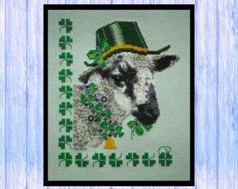 Lucky Leprechaun Lamb of Loch Eye, SHEEP, Cross Stitch PDF Instant Download, St Patrick's Day, From Scotland