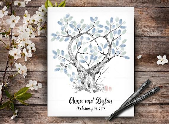 Wedding Guestbook Tree, 100% Hand Drawn Fingerprint Tree, Custom Alternative Wedding Guest Book, Wedding Keepsake, Handlettered Font