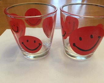Vintage Red Happy Face/ Smiley Face Sour Cream Glasses (2)