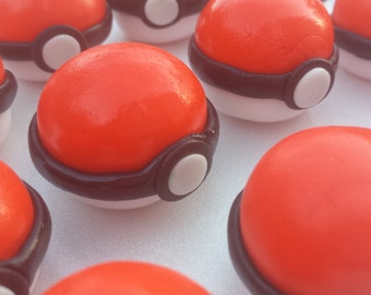 "1"" pokemon cupcake topper - pokemon cake topper - pokeball cake topper - pokeball cupcake topper - edible pokemon topper-fondant pokemon"