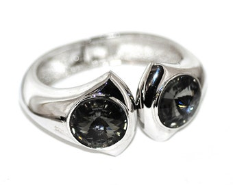70s Lanvin Rivoli Clamper Bracelet   Smoky Gray Crystal & Chrome Finish   Modernist Statement Cuff Bangle French Runway Silver Jewelry Gift