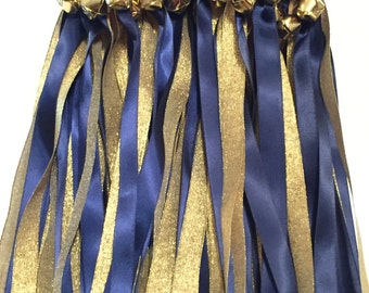 50 Wedding Wands/Wedding Ribbon Wands/Wedding Wand/Wedding Streamers/Navy and Metallic Gold
