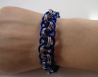 Blue Viper Basket Chainmail Bracelet; Sapphire Chain Mail Bracelet; Navy Chainmaille Bracelet; Chain Maille Bracelet; Chainmail Bracelet