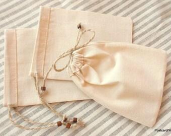 50 Natural Cotton Pouches Coarse Cotton Small Bags jewelery Small Pouches