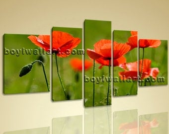 """Modern Wall Art Poppy Flower Living Room Decor Large Hd Pictures On Canvas Print, Poppy Flower wall art,  size giclee prints, 72""""x40"""""""