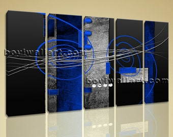 """Large 5 Panels Modern Abstract Painting Home Decor Wall Art Print On Canvas Blue, Abstract hd print,  giclee print, 54""""x32"""""""